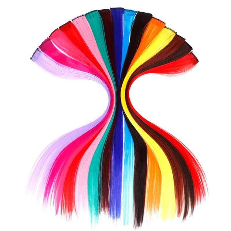 BUQI مستقيم وهمية الملونة مشبك وصلة الشعر قوس قزح الشعر خط الاصطناعية الوردي البرتقالي الأبيض الأرجواني الشعر خيوط على مقاطع