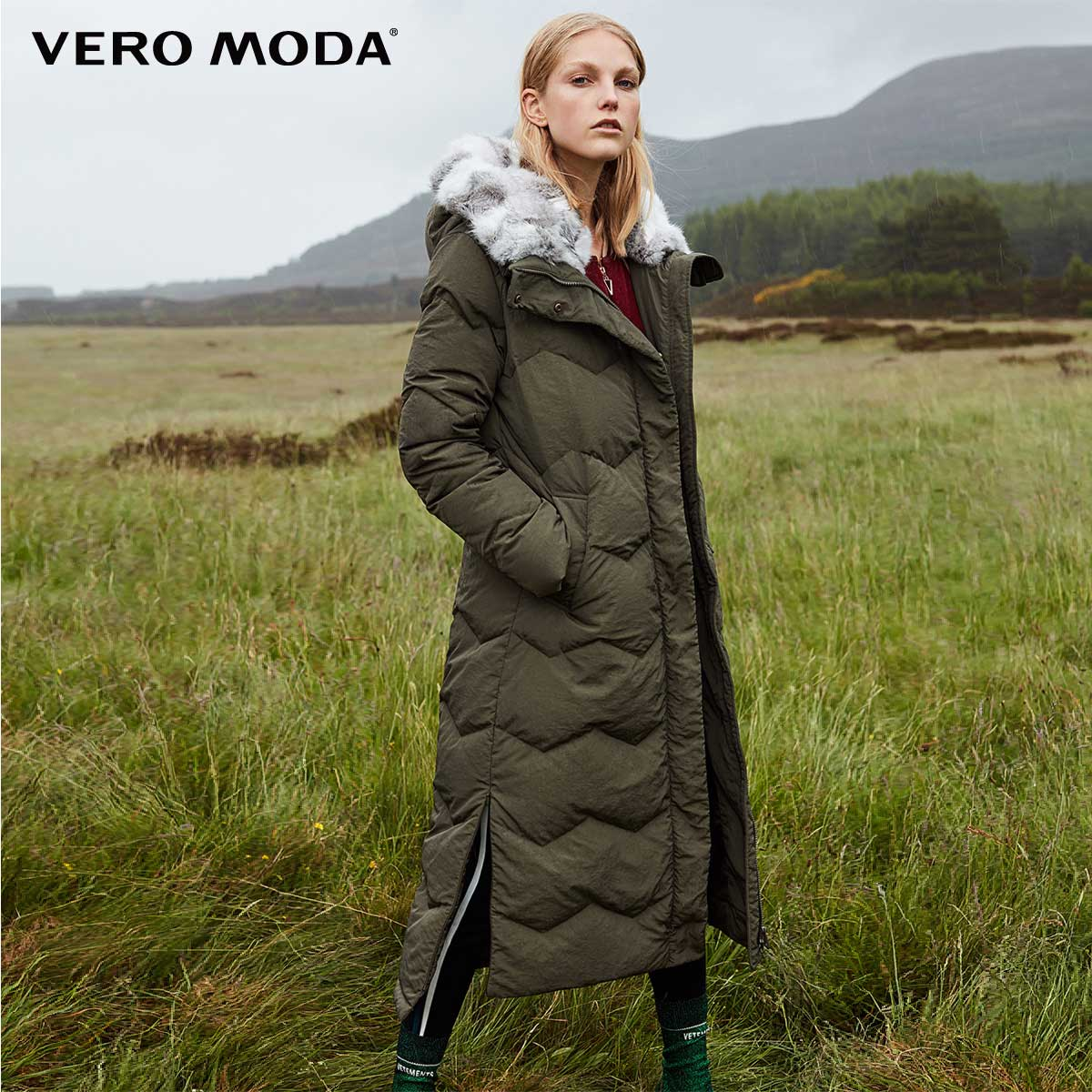 Vero Moda New Detachable Rabbit Fur Hood Pure Long Down Jacket | 318312507