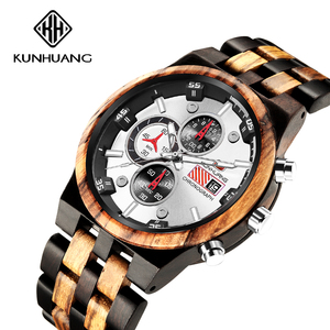 Image 2 - Ahşap erkek Quartz saat erkek spor saatler iş ahşap İzle erkek Relogio Masculino lüks İzle erkek büyük Chronograph saat
