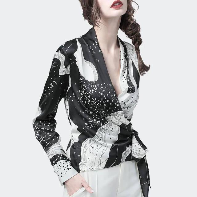 Fashion Chiffon Print Long Sleeve Women Blouses Korean V Neck Slim Harajuku Shirts Female Summer Elegant Blusas Mujer 4