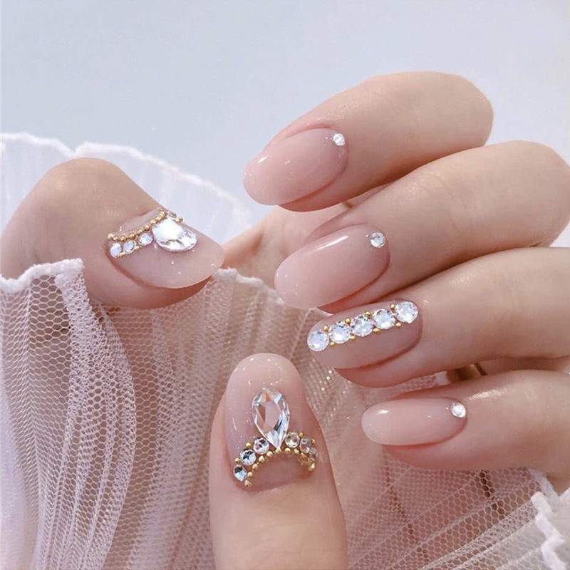 Nail-Tips Glue Short Fake-Nail Wearable Round-Press Girls Full-Cover on with for Bride