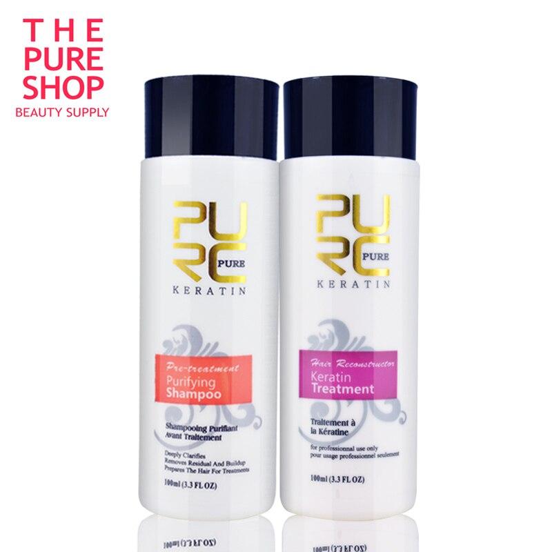 Brasilianische Keratin Haar Behandlung Haar Begradigen Klärung Shampoo Keratin und Reinigung Shampoo für Krauses Beschädigt Haarpflege