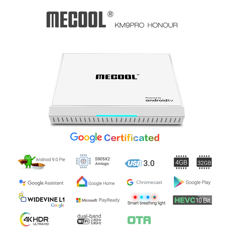 <font><b>Mecool</b></font> <font><b>KM9</b></font> Pro Honour <font><b>Android</b></font> 9.0 <font><b>TV</b></font> <font><b>Box</b></font> 4GB 32GB Google Certificated Voice Control TVbox 2.4G 5G Wifi Bluetooth Smart Player image