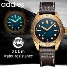 Addies Mechanische Brons Horloges Mannen 20 Bar Duiken NH35 Beweging C3 Lichtgevende Sapphire Crystal Automatische Brons Horloge Diver 200M