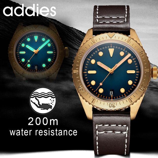 Addies mekanik bronz saatler erkekler 20 bar dalış NH35 hareketi C3 ışık safir kristal otomatik bronz İzle Diver 200m