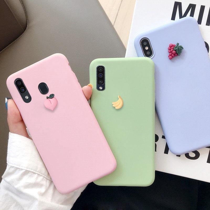 3D Fruit Case For Samsung Galaxy A10s A20s A30s A40s A50s Cute Banana Peach Grape Matte Soft Tpu Back Cover Coque Capa Fundas