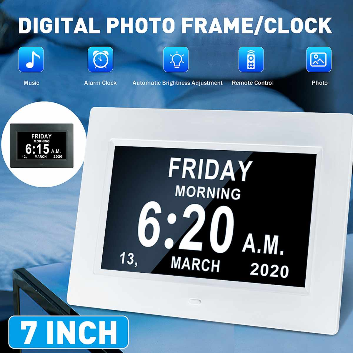 7 Inch Screen Digital Photo Frames HD LED Backlight Full Function Electronic Album Photo Music Calendar Dual Date Mode Alarm