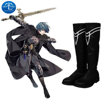 Manluyunxiao High Boots Byleth Cosplay Halloween Costume For Men Adult Fire Emblem Three Houses Faux Leather Black Male Shoes