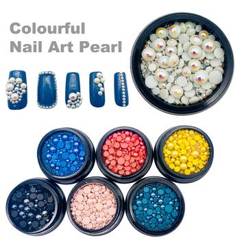 1 Box Mix rozmiary pół perły 3d cyrkonie do paznokci do zdobienia paznokci Diy dekoracje Salon kosmetyczny Manicure dostaw tanie i dobre opinie CN (pochodzenie) Perła Rhinestone i dekoracje 4cm*4cm*1cm