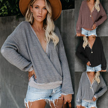 лучшая цена Women V-Neck Long Sleeve Sweater Tops Autumn Winter Knitted Sweaters Pullovers Casual Solid Tee Shirts 2019 Jumper Pull Femme