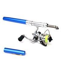 Winter Telescopic Ice Fishing Rod With Reel Combo Spinning Pen Fishing Rods Kit Pen Shape Folded Rod Set 1M 1.6M 1.4M Fish Gear