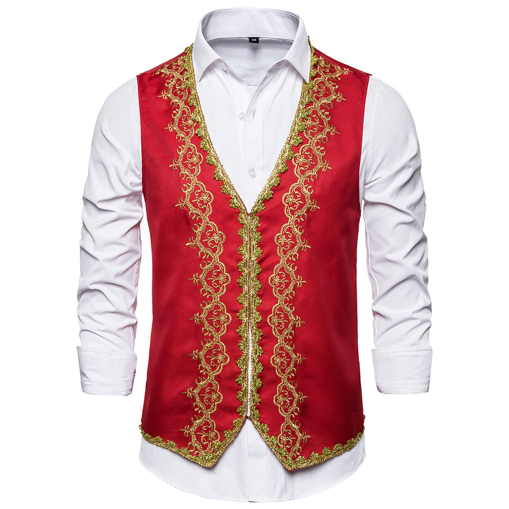 SHUJIN Red Steampunk Vest Men Suit Gilet Homme Wedding Sleeveless Slim Fit Embroidered Single-breasted Dress Vests Waistcoat