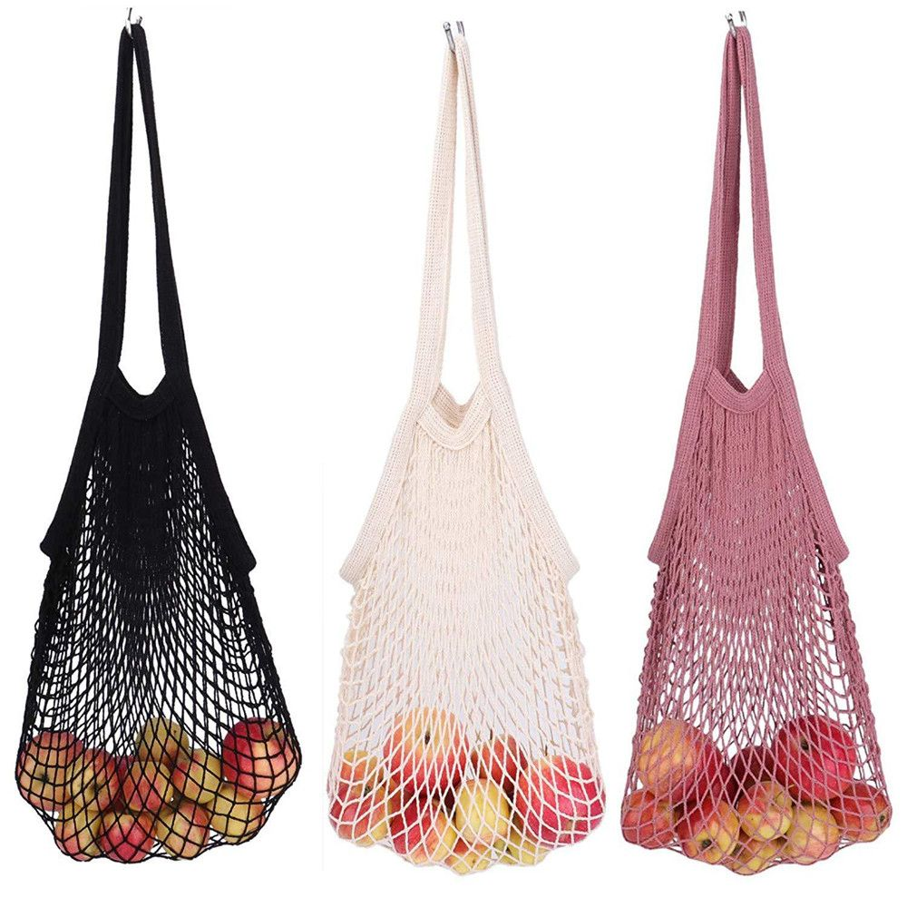 Cotton Mesh Shopping Bag Reusable String Fruit Storage Handbag Totes Women Shopping Mesh Net Shop Grocery Tote Bag 2019 Foldable