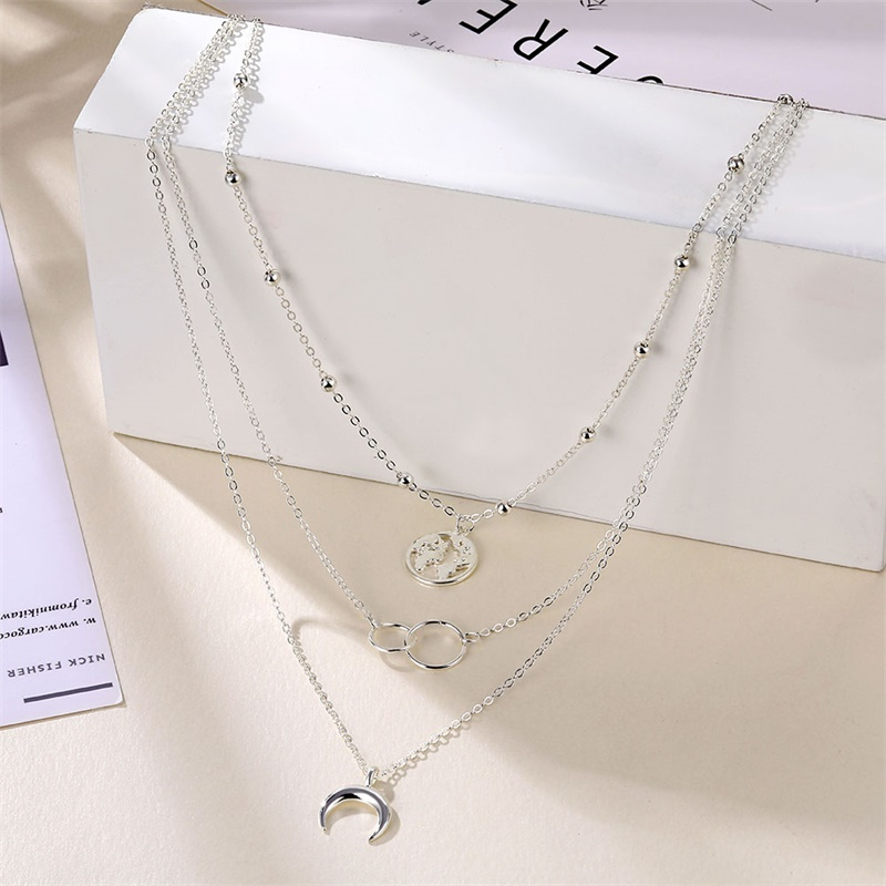 Bohemian Fashion Moon Circle Map Pendant Necklace for Women Jewelry Earth Choker Multilayer Bijoux Collares Mujer Collier Femme 3