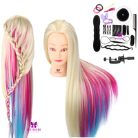 Neverland 26Inch Colorful Synthetic Hair Mannequin Head For Hairstyles Hairdressing Training Head with Table Clamp and Braid