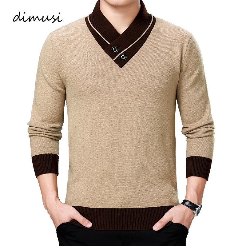 DIMUSI Autumn Winter Mens Sweater Casual Turtleneck Solid Color Sweater Mens Double-Collar Slim Fit Knitted Pullovers Clothing
