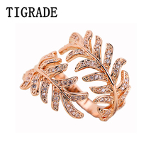 Tigrade Fashion Leaf Design Ring Rose Gold Luxury Women Silver Vintage Rings Adjustable Big Jewelry Band Cubic Zirconia
