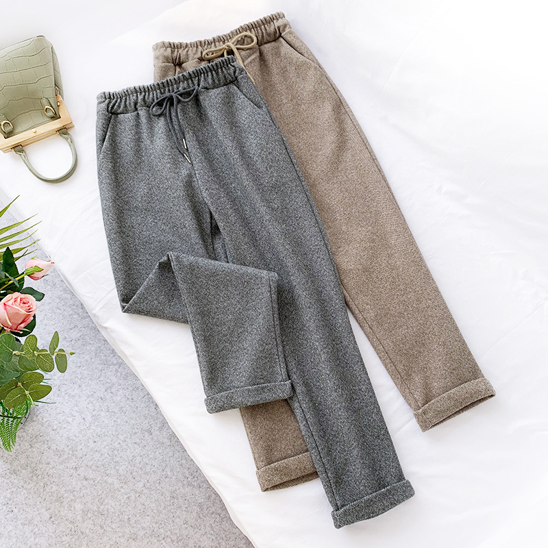 Wasteheart Autumn Winter Women Fashion Gray Khaki Long Pants Harem Pants High Waist Female Pants Casual Woolen Keep Warm Pockets