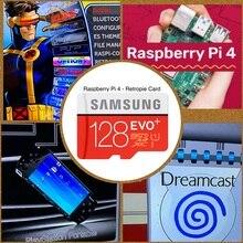 RetroPie SD 카드 128GB 라즈베리 파이 4 14000 + 게임 45 + 에뮬레이터 미리 장착 된 Diy 에뮬레이션 스테이션 ES NES FC PS NEOGEO PSP PC
