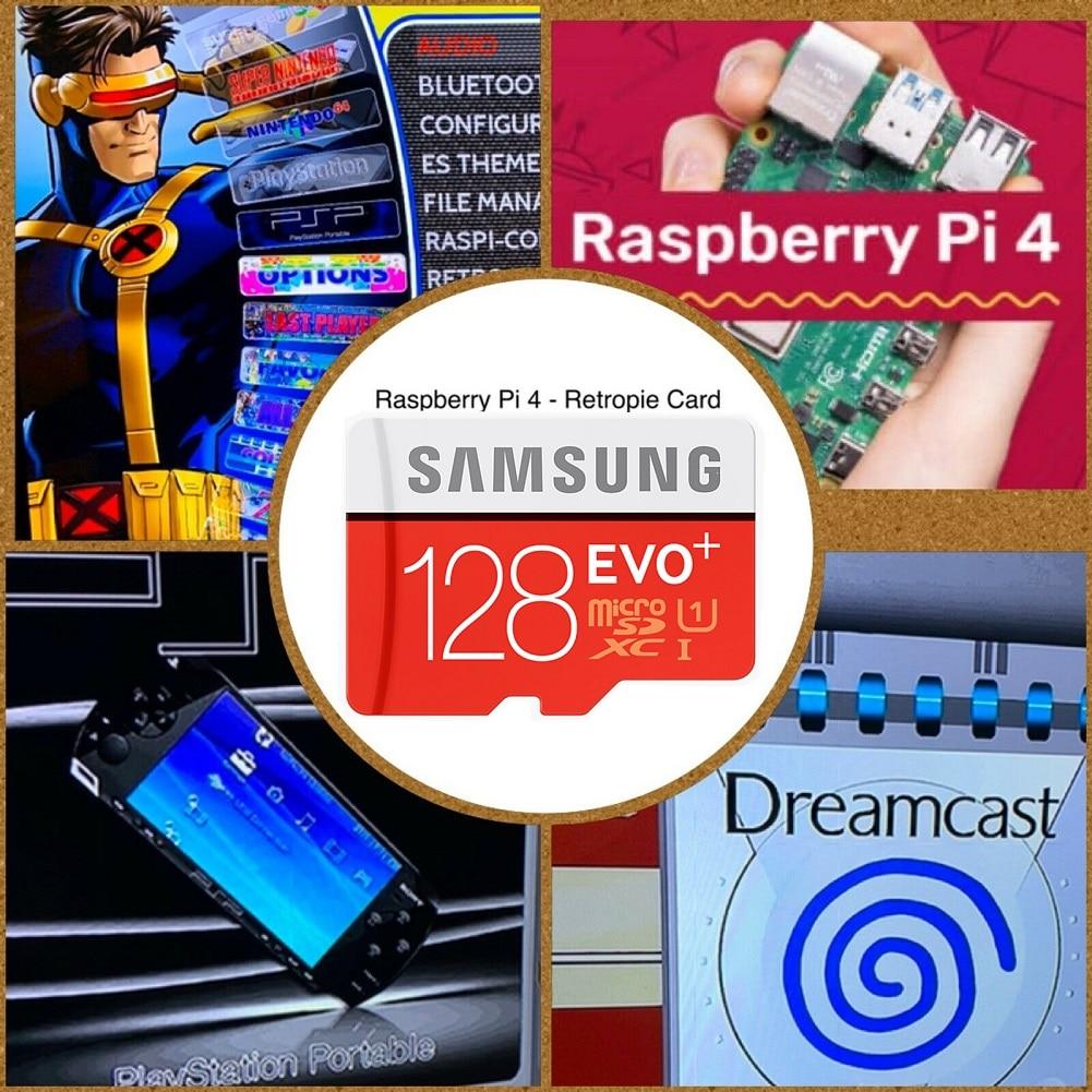 SD-карта RetroPie 128 ГБ для Raspberry Pi 4 14000 + игры 45 + эмуляторы предварительно загруженные Diy эмуляционная станция ES NES FC PS NEOGEO PSP PC