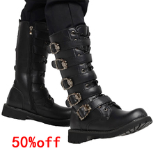 High Knee Men's Leather Motorcycle Boots Military Combat Boots Gothic Punk Boots Men Shoes Army Boot Desert boots Casual Boots zero more army boots men high military combat boots metal buckle punk mid calf male motorcycle boots zipper men s shoes parade