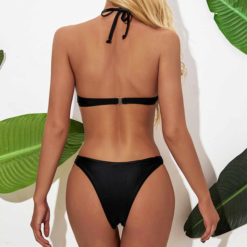 Musim Panas Bikini Wanita Push Up Sexy Tankini Hitam Padat Renda Baju Renang untuk Lemak Pinggang Tinggi Brasil BoHo Baju Renang Wanita 2020 Baru