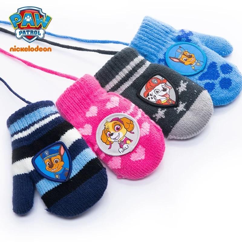 1 Pair Genuine Paw Patrol Gloves For Girl Boy Warm Winter Thicken Glove Skye Marshall Chase Non Slip Full Finger Gloves Gift
