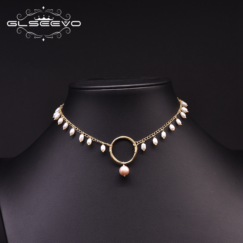 GLSEEVO Original Design Handmade Natural Fresh Water Pearl Choker Necklace For Women Wedding Engagement Gift Fine Jewelry GN0185