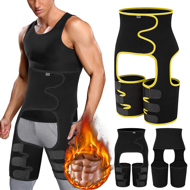Men's Body Shaper Sauna Waist Trainer Corset Sweat Belt Thigh Slimmer Weight Loss Abdomen Shapewear Belly Leg Shapers Fitness