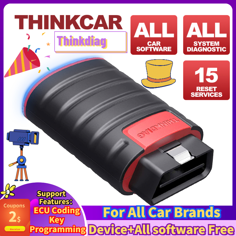 Thinkcar ThinkDiag+60CM Extension Cord Full OBD2 All System Diagnostic Tool Code Reader Scanner 15 Reset Service Actuation Test