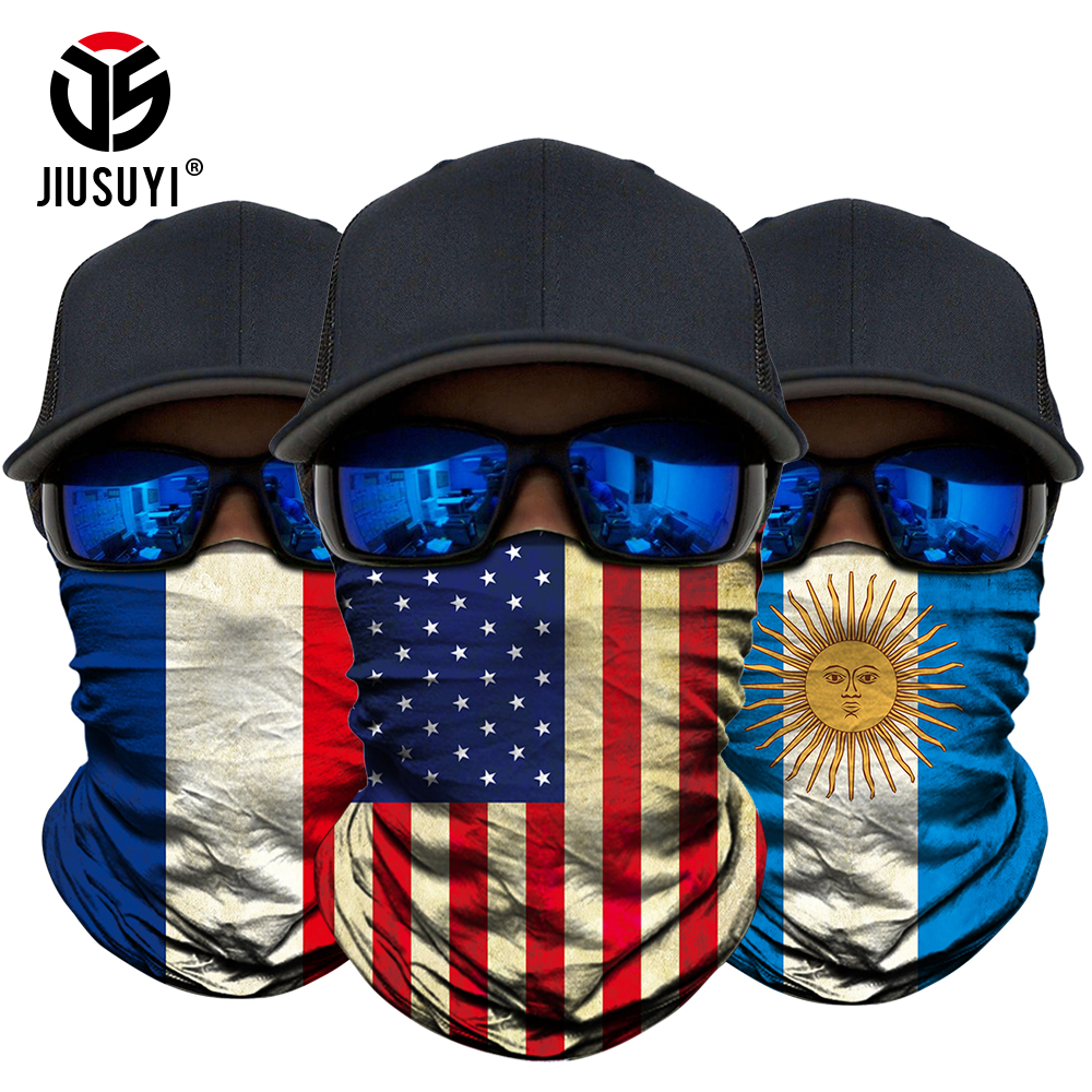 Summer Face Scarves National Flag Print Scarf Neck Cover Gaiter Bandana Loop Summer Sun Protective Tube Scarves Men Headwear