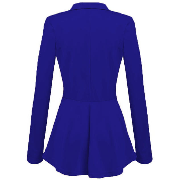 CINESSD Women Blazer Coats Notched Long Sleeves Double Breasted Metal Button Slim Casual Suits Jackets Solid Cotton Lady Blazers 2