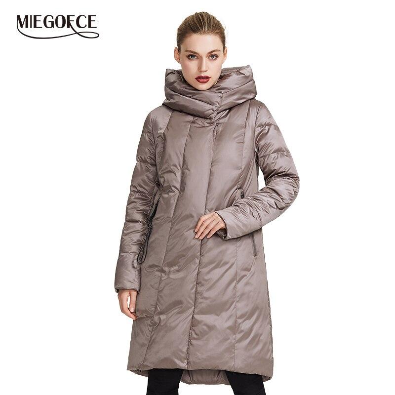 Miegofce 2019 coleção feminina jaqueta de inverno casaco quente com design incomum e cores parka dá charme e elegância adequado