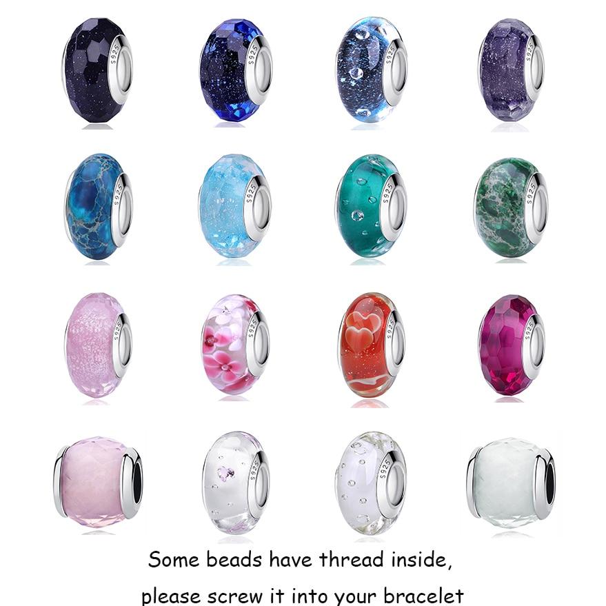 2019 New Original 100% 925 Sterling Silver Glass Bead Wood Stone Murano Flower Charms Fit Pandora Bracelet DIY Women Jewelry(China)