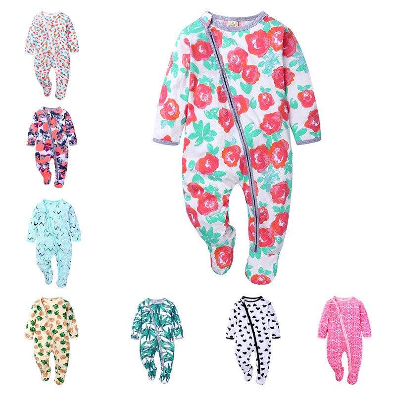 Primavera outono bonito do bebê duplo zíper roupas de dormir pijamas macacão de bebê roupas meninos meninas recém-nascidos 0-18m