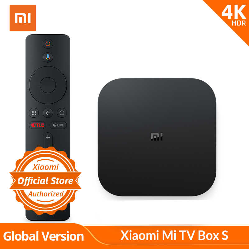 Versi Global Xiaomi  Mi TV Box S 4K HDR Android TV Strea Mi Strea Media Player dan Google asisten Remote Smart TV Mi Kotak S