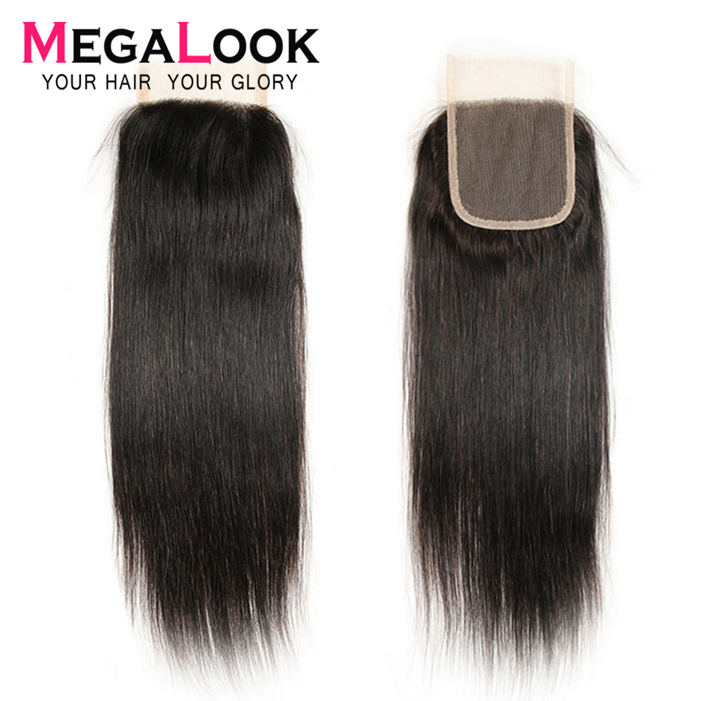 Megalook Human-Hair Closure Straight Brazilian Natural-Color Swiss Remy 10-22-Inch 4--4