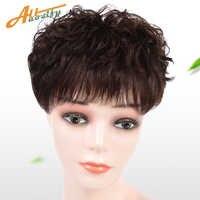 Allaosfy Pelucas cortas para mujeres, pinzas para el pelo, pelucas de pelo, peluca tejida a mano sintética, color negro, marrón oscuro Natural, adecuado para mujeres