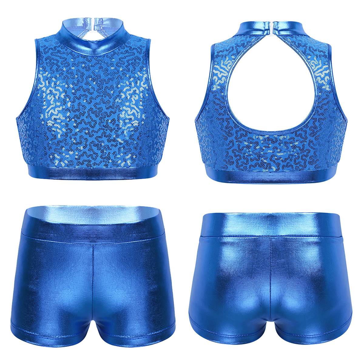 Sequins Kids Girls Jazz Dance Costumes Ballet Gymnastics Leotard Shorts Set For Birthday Gift Ballet Class Performance Clothes