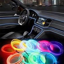 Luz Ambiental de decoración para Interior de coche, cable de luz fácil de coser, tira de neón Led Flexible, controlador inversor de 12V, 2M