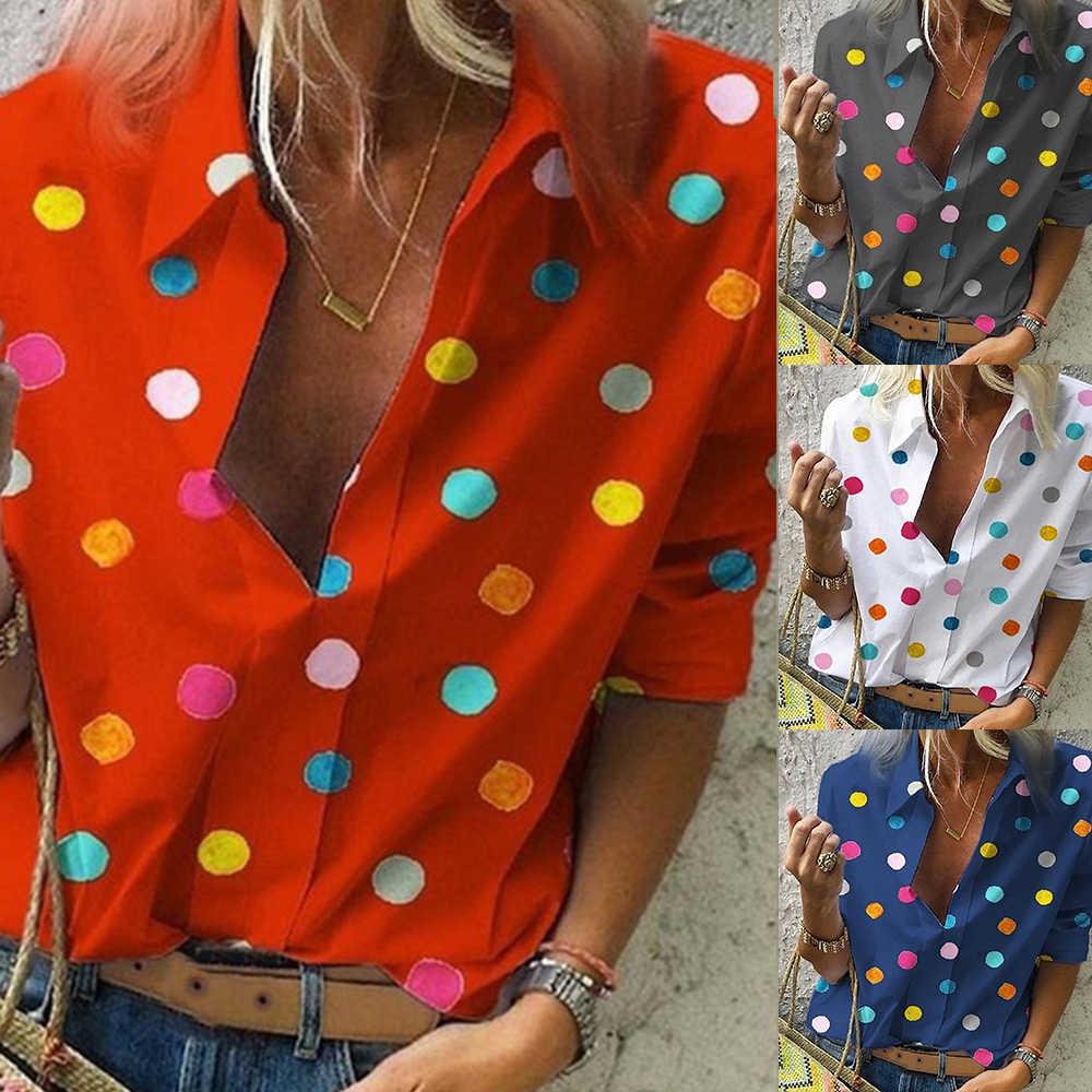 JODIMITTY 보헤미아 도트 프린트 블라우스 여성 Blusas 캐주얼 가을 탑스 2020 Ladies Shirt Chemisier Femme Plus Size Shirt