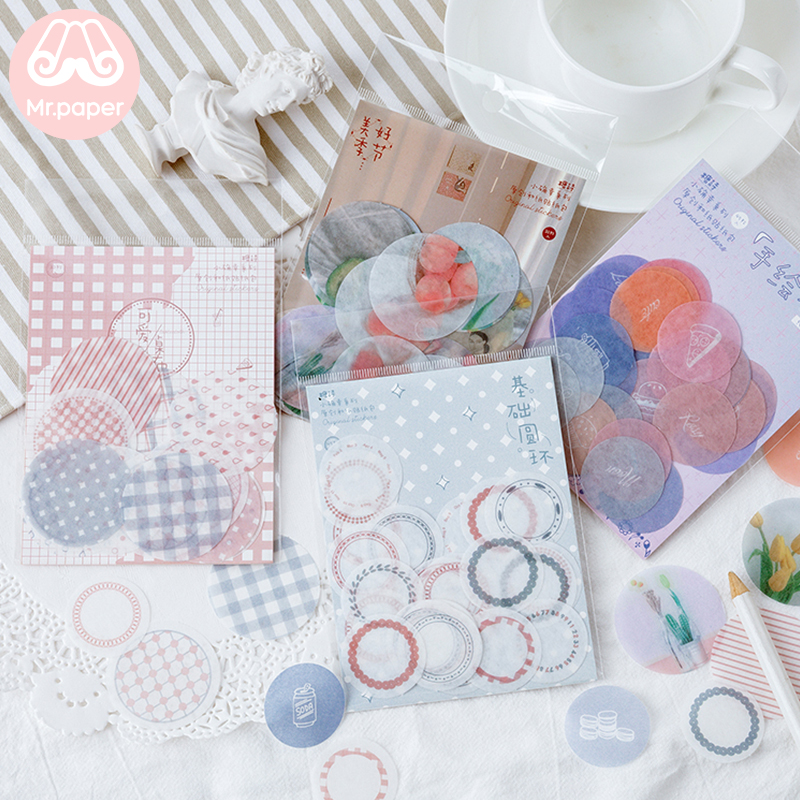 Mr.paper 45Pcs/pack 4 Designs Little Lucky Circle Ins Style Scrapbooking Stickers Bullet Journal Decorative Stationery Stickers