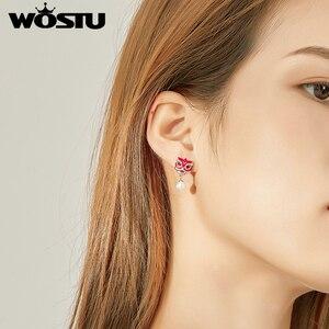 Image 4 - WOSTU ของแท้ 925 เงิน Chiness Lion Dance Drop ต่างหูสำหรับผู้หญิงสีแดง Pearl ต่างหูเครื่องประดับของขวัญ CTE333
