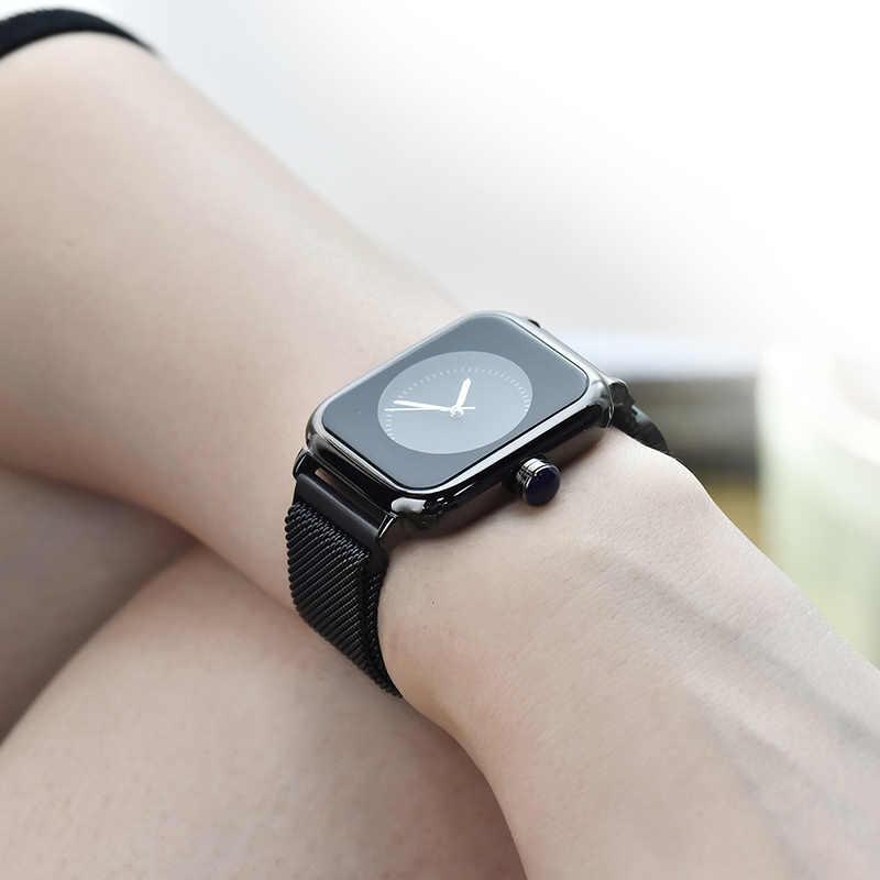 高級バンド腕時計女性人格正方形磁気レディース腕時計ファッショントレンド防水ビジネスレロジオ Feminino カジュアル