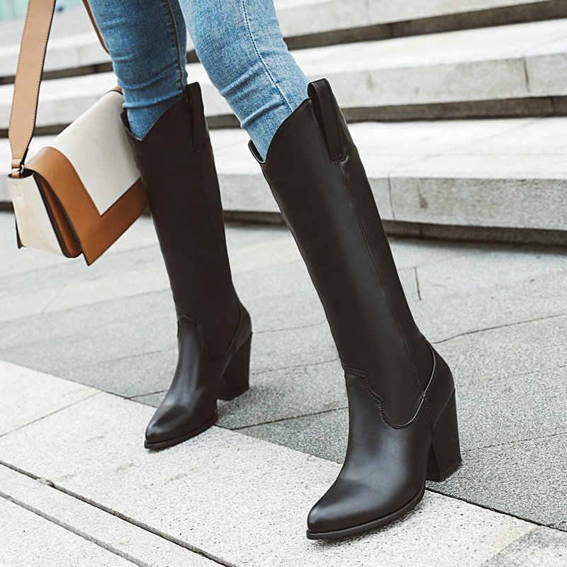 Marrom Branco Preto Na Altura Do Joelho Botas Altas Das Mulheres Da Moda Calcanhar Robusto Botas de Cowboy Senhoras 2019 Inverno Dedo Do Pé Redondo Longas Botas Mais tamanho Sapatos