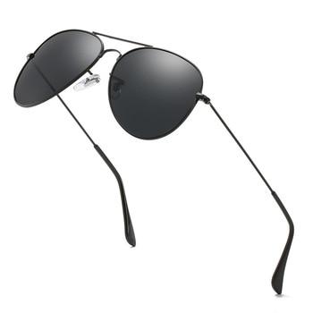 Las gafas de sol polarizadas son tanto para hombres como para mujeres, montura metálica de doble haz, de estilo clásico gafas de sol, gafas de diseñador premium