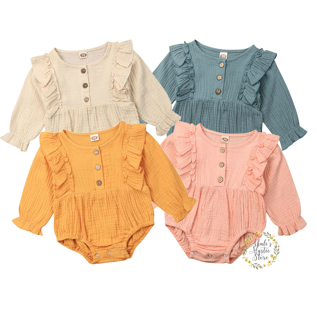 0-24M Newborn Infant Baby Girl Ruffles Romper Cute Button Long Sleeve Jumpsuit Playsuit Baby Girl Costumes Autumn Spring Clothes