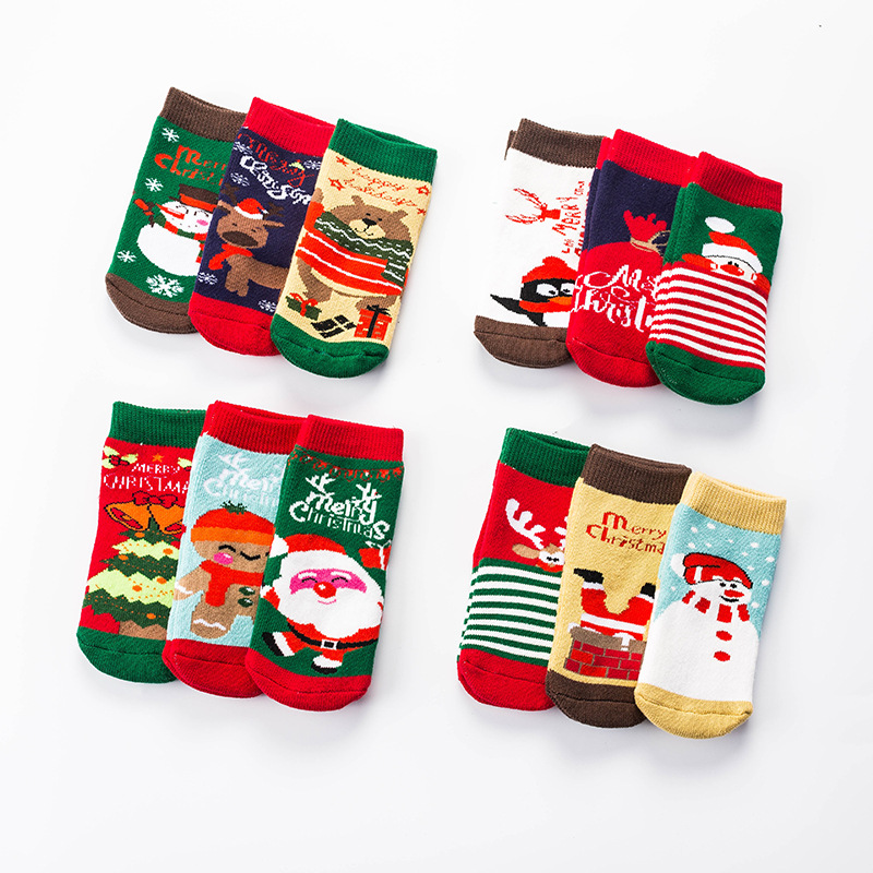 3 Pairs/Lot 0-3Y Baby Christmas Socks 2019 Autumn Winter Warm Newborn Boy Girl Socks Cotton Cute Infant Sock For Kids Sokken