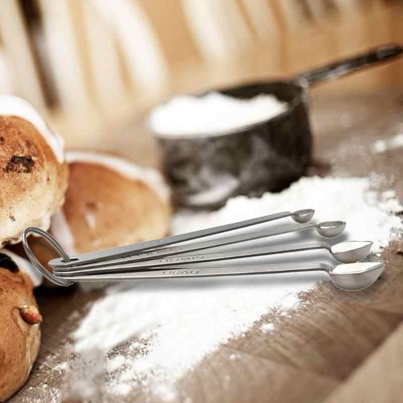 4 יח'\סט נירוסטה תבלינים כפות מדידה ייצור משוכלל ממושך עמיד מטבח בישול סוכר מלח סקופ