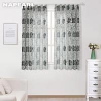 NAPEARL-cortinas semiopacas cortas de diseño floral, jacquard, tratamientos, modernas, para cocina, sala de estar, ventanas listas